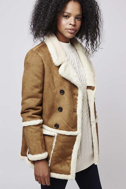 topshop shearling coat, shearling faux coat, tan shearling coat, shearling car coat,