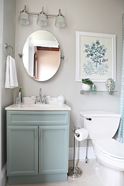 Light Blue Bathroom : ... and interesting to have a blue vanity then if they had left it white