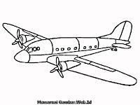 Gambar Sketsa Pesawat Untuk Diwarnai