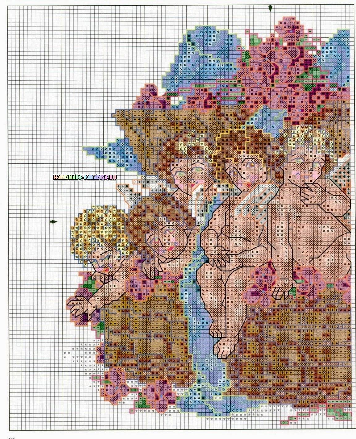 Схема вышивки крестом ангелов