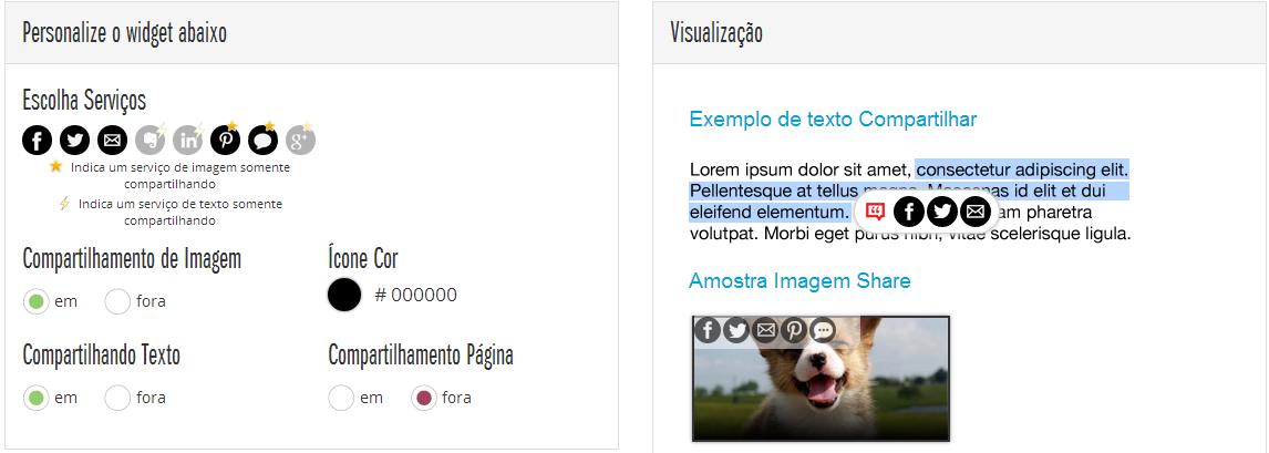 Configurar widget de compartilhamento em imagens e textos (Selecionados)