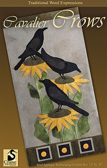 "Cavalier Crows Wool Applique Wallhanging 13"" x 25"""