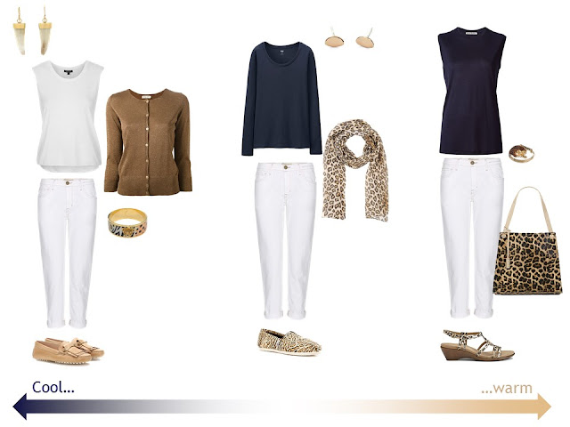 3 outfits with white jeans and leopard accessories