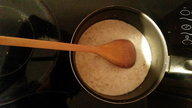Porridge in saucepan