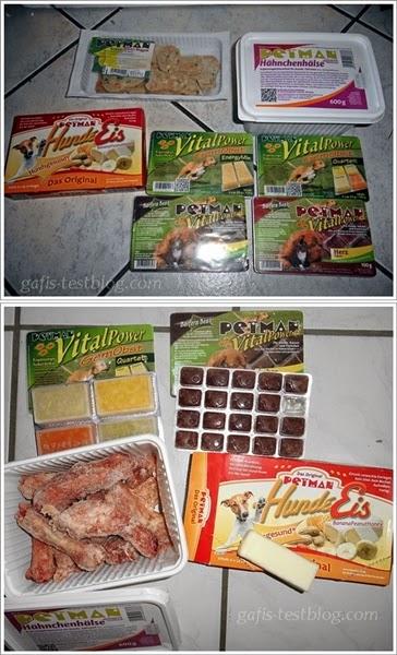 Gemüsefrucht Nuggets, Hähnchenhälse, Hundeeis, Obst Quartett, Energie Mix