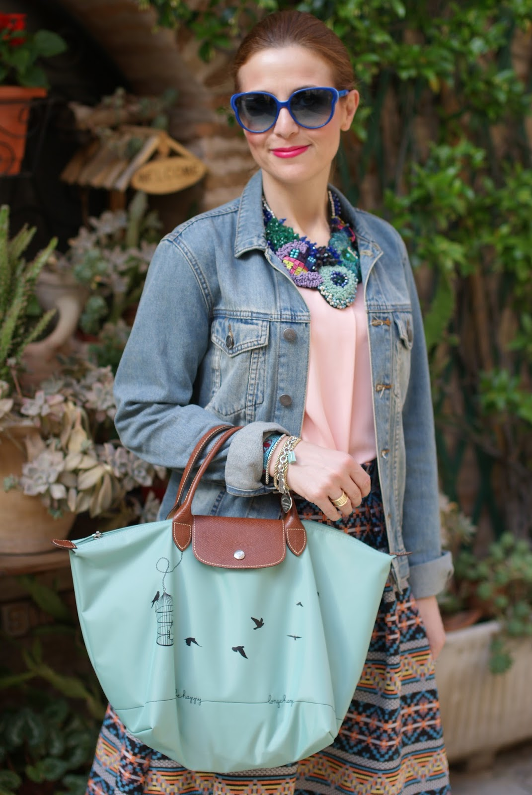 Le Pliage 2015, Longchamp Le Pliage cage aux oiseaux bag, Le Pliage Longchamp birds, denim jacket, jacquard midi skirt, simonab bijoux necklace, Fashion and Cookies fashion blog