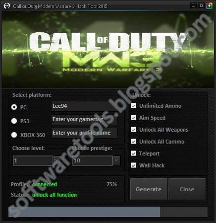 Call of duty modern warfare 3 hack tool 2015 pc ps3 xbox 360