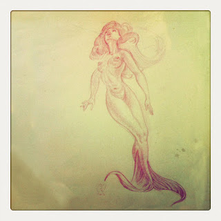 Curio and Co. Curio & Co. www.curioandco.com  - sketch for Oberfaffendorfer ad Neptune Nibbles - Mermaid Drawing - by Cesare Asaro