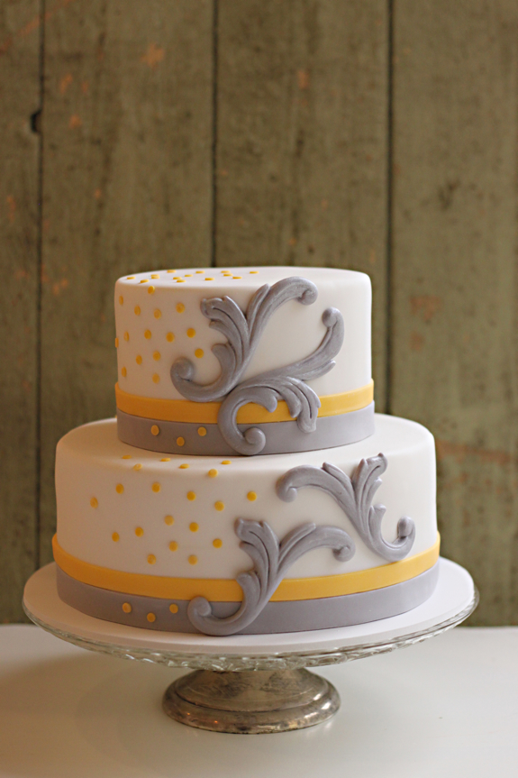 Chic yellow and grey baby shower cake | The Couture Cakery