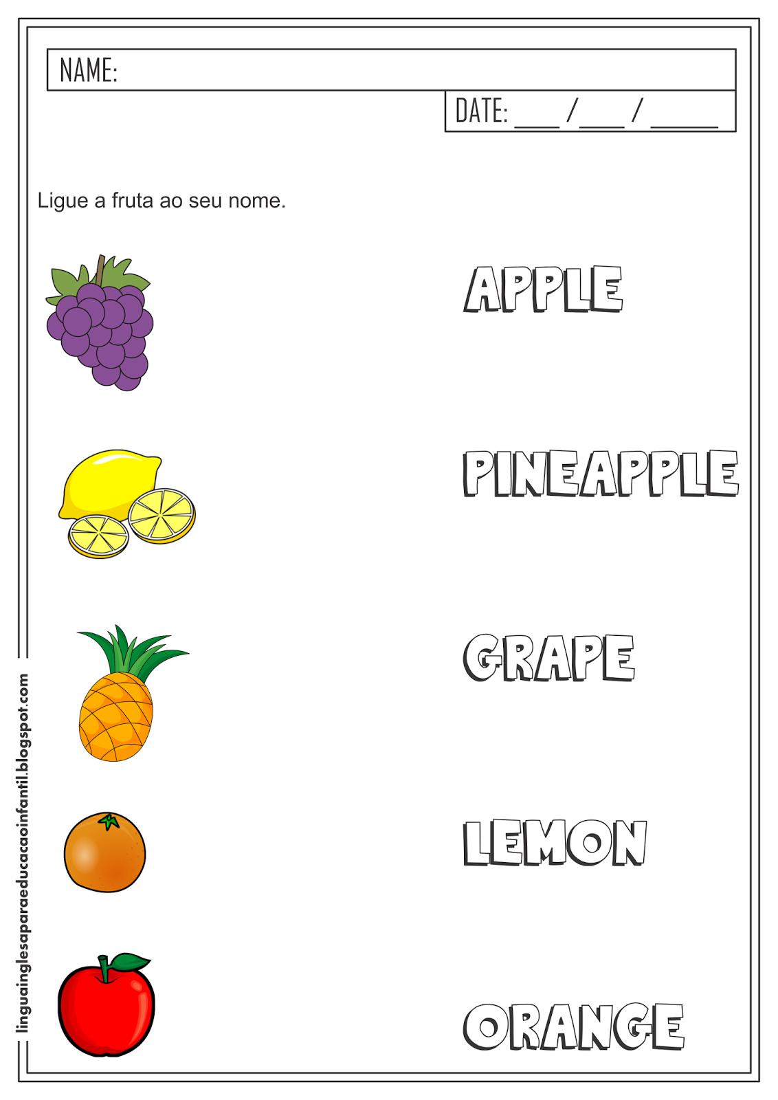 Atividade de Inglês - Nome das frutas - Liga Figuras