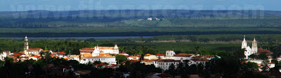 Vista aérea do Centro Histórico de São Cristóvão, em Sergipe. Foto tirada a partir do morro do Cristo