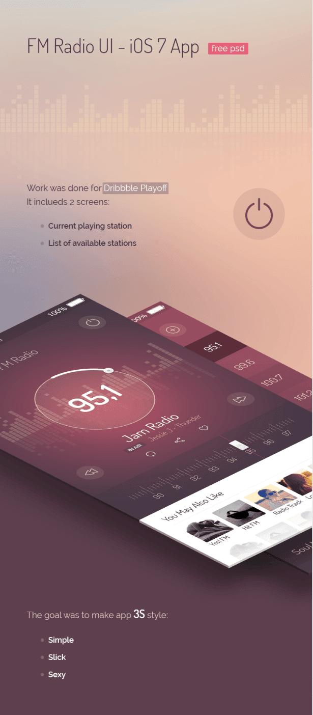 FM Radio UI - iOS 7 App (Free)