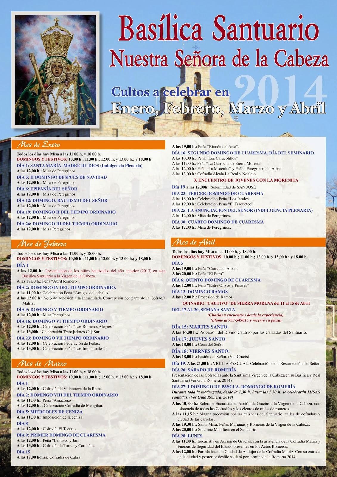 CULTOS A CELEBRAR EN SIERRA MORENA: ENERO-ABRIL 2014