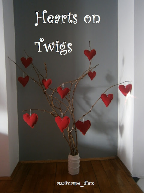 hearts on twig limbs Valentine Decor