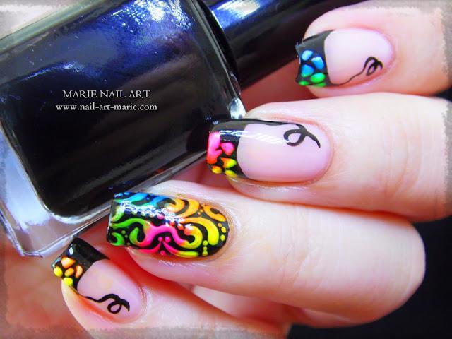 tuto vidéo nail art arabesques fluo