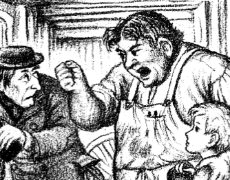 A fragment of the picture from the book.  A scrooge-like man is cringing away from a burly man who is shaking his fist and holding the shoulder of  Almanzo.