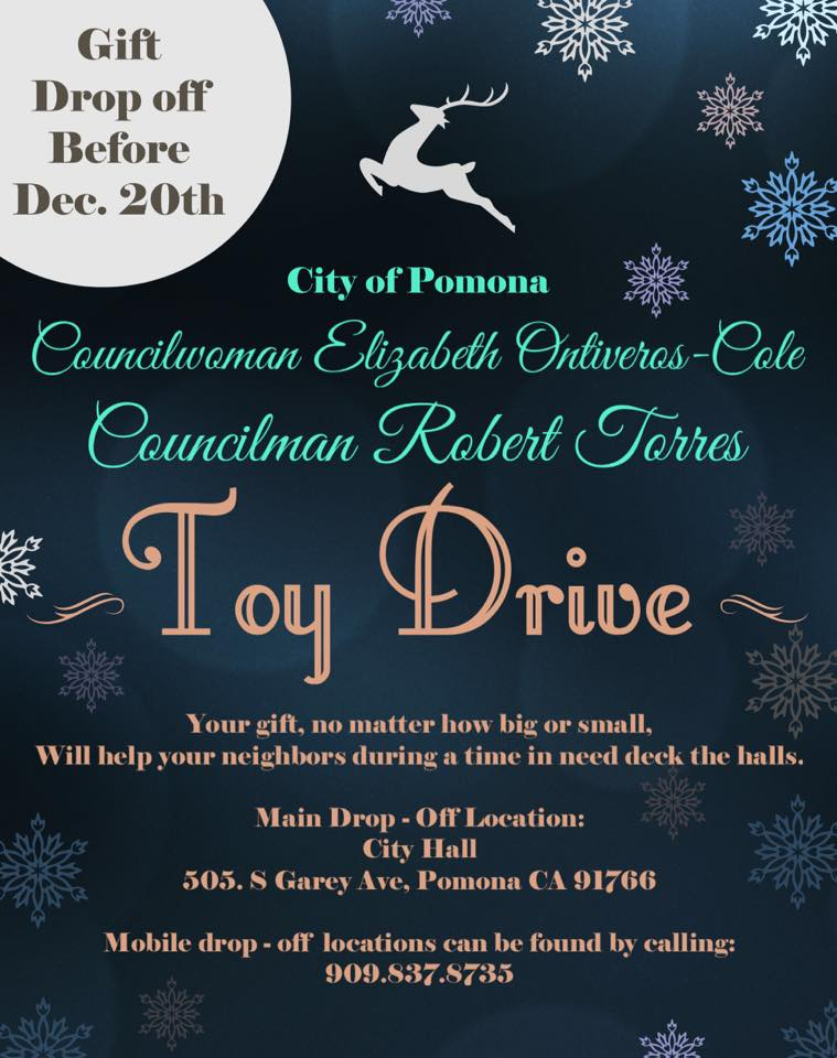 Pomona's Toy Drive. Drop off Before Dec. 20th