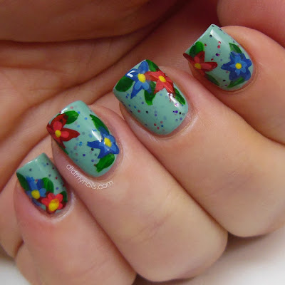 flower nail art over Mint Condition