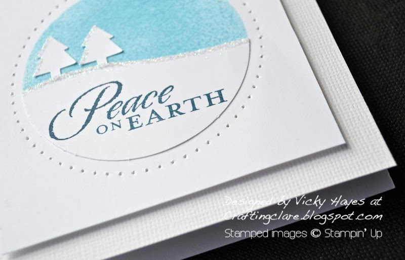 pierced frame and Merry Mini punches make a snowy scene using Stampin Up products