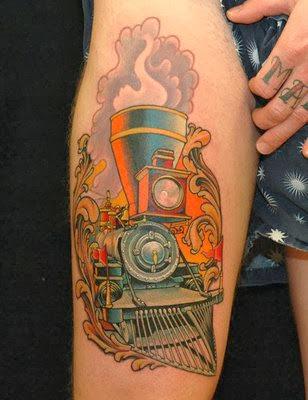 Tatuagem Colorida de Trem