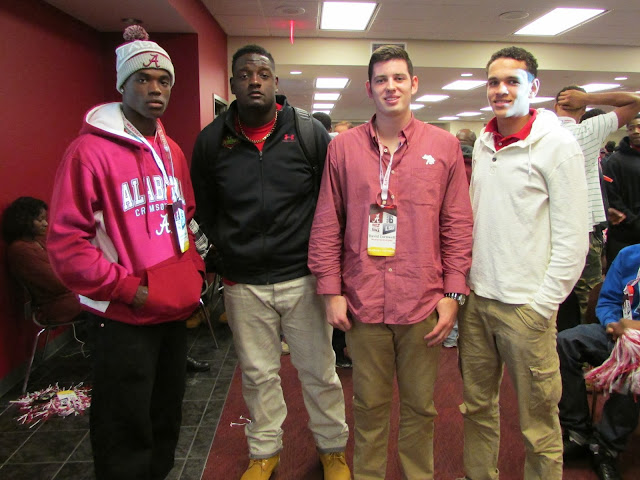 Left to right: Cameron Sims, Cameron Robinson, David Cornwell, Derek Kief at 2013 Alabama Crimson Tide vs LSU Tigers game