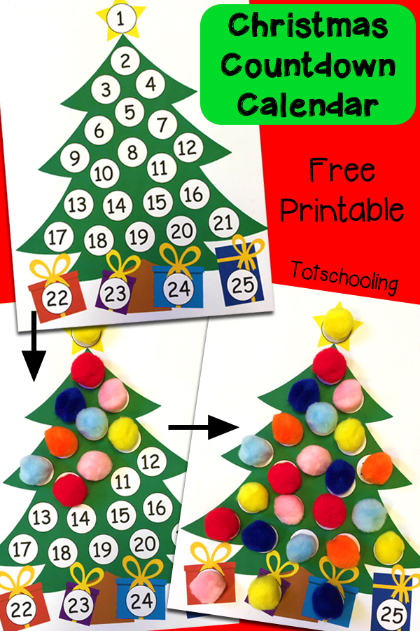 Christmas countdown printable advent calendar totschooling free printable christmas tree advent calendar for kids to count and cover up the days until saigontimesfo