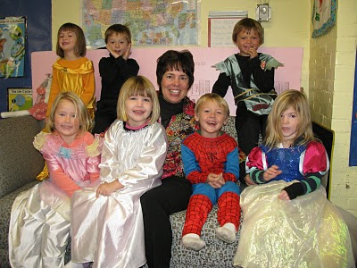 photo of: Preschool Children in Costume for Halloween with Debbie Clement in article on Childhood Fears