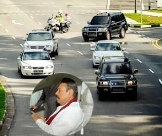 Mahinda still travels in a convoy of 12 vehicles