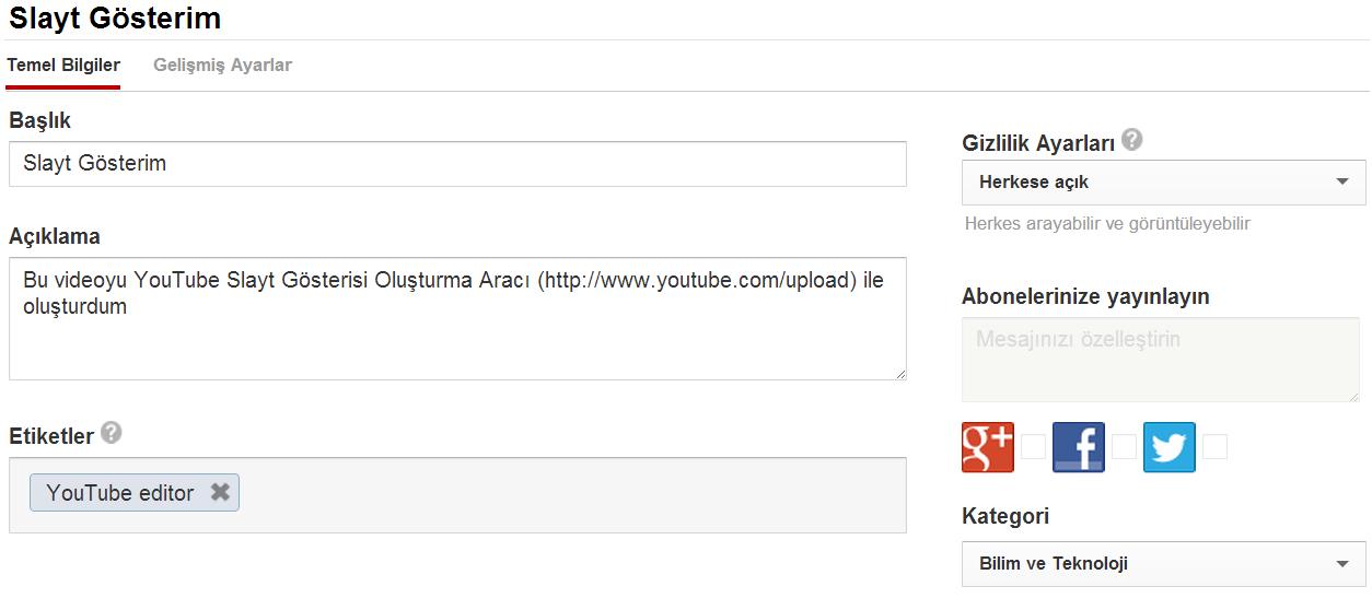 Youtube  Slayt Video Oluşturma