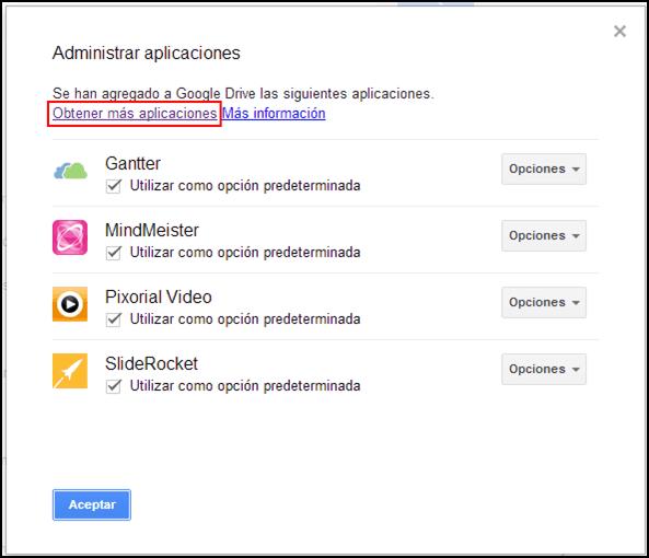 Administrador de Aplicaciones Google Drive.