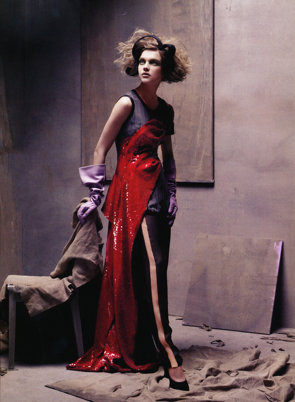 Peerless Natalia Vodianova wearing Marc Jacobs in Vogue US January 2008 (photography: Steven Meisel, styling: Grace Coddington) via www.fashionedbylove.co.uk