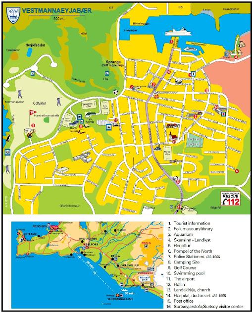 Mapa de Heimaey (Vestmannaeyjar) en Islandia