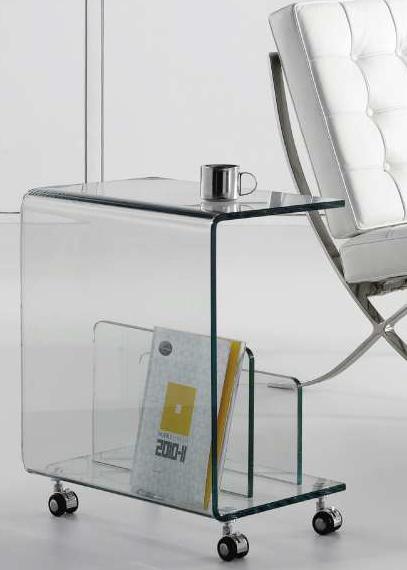 Dekotipo design oferta dos mesas revisteros con ruedas - Mesitas auxiliares de cristal ...