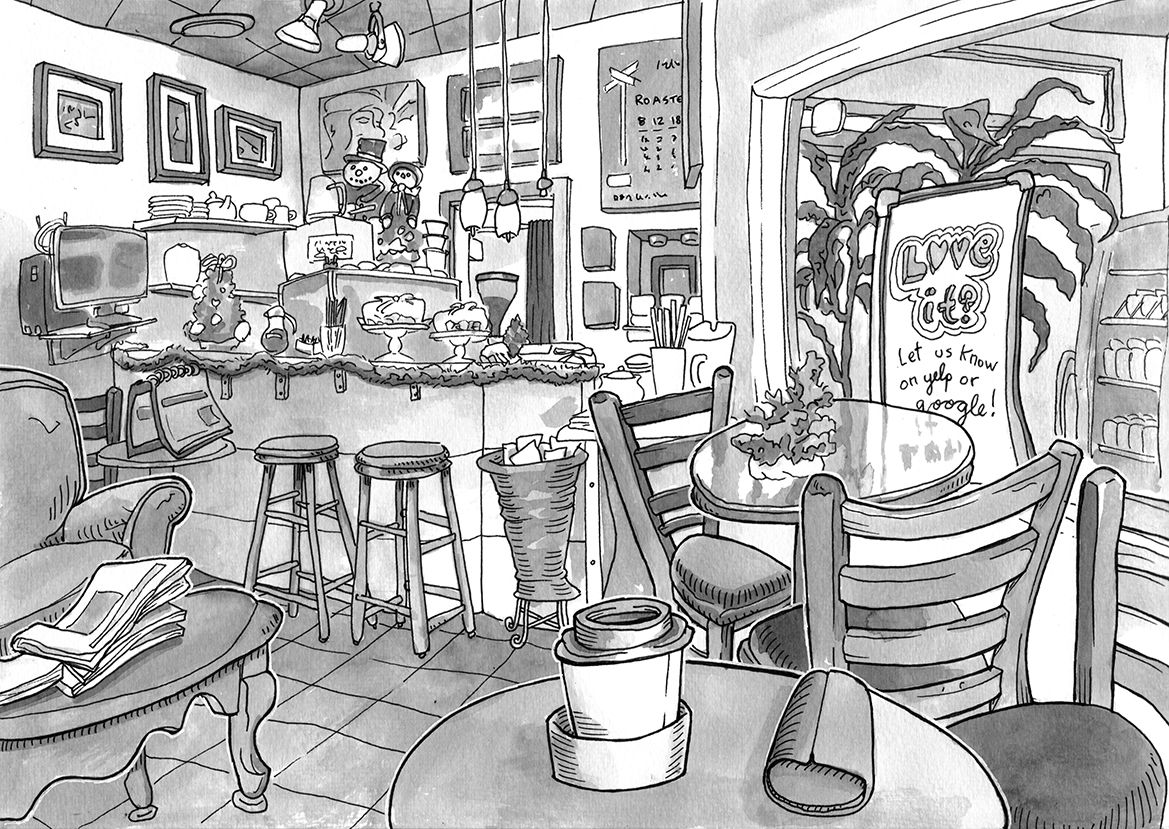Image Gallery Interior Cafe Drawing