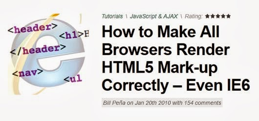 Make All Browsers Render HTML5 Mark-up Correctly – Even IE6