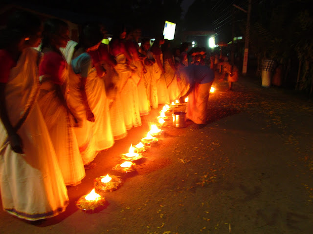 The row of lamps during festival- kerala backwater tourism