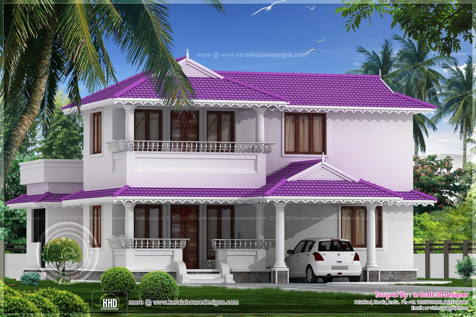 3 bedroom beautiful villa in 1968 sq ft home kerala plans for Villa plans in kerala