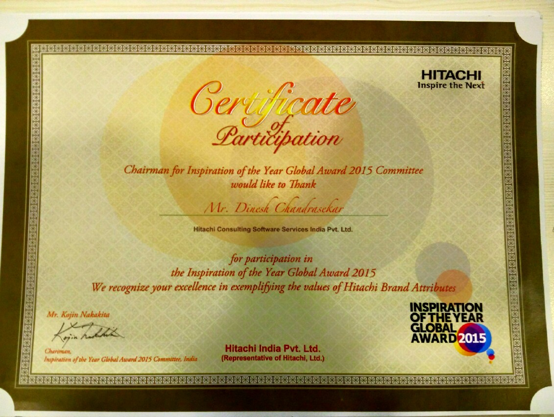 Hitachi's Inspiration of the Year 2016 Certificate