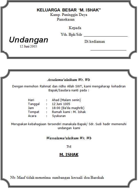 Download Contoh Undangan Syukuran