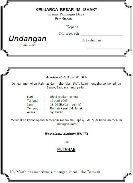 Download Contoh Undangan Syukuran