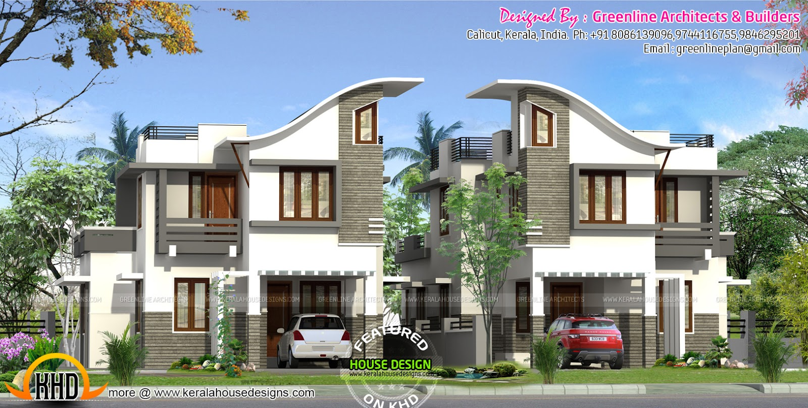 Twin house design kerala home design and floor plans Twin bungalow plans