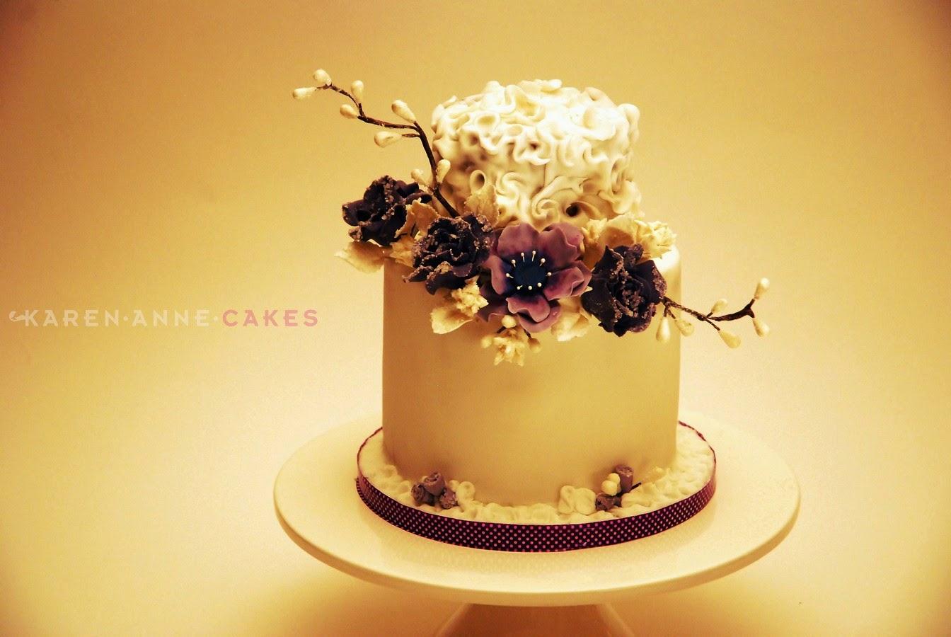 Bruidstaart met suikerbloemen Karen Anne Cakes roosendaal