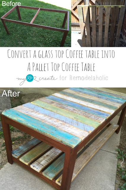 Glass broken on your coffee table?  No problem, update it with free pallet wood and create a unique beautiful piece of furniture for your home!