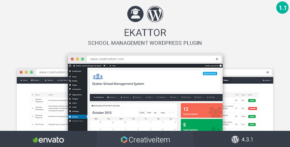 Free Download Ekattor School Manager V1.1 Wordpress Plugin