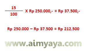 Gambar: Contoh proses perhitungan untuk menghitung harga setelah diskon