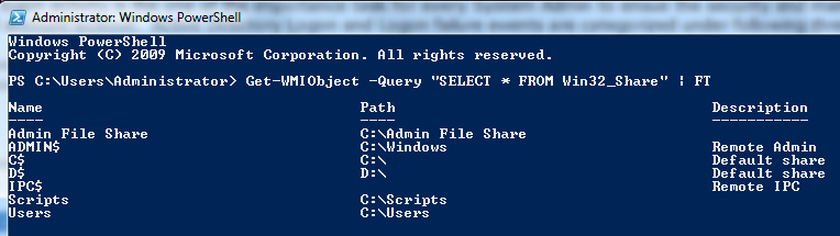 Get List of Network Shares using Powershell script