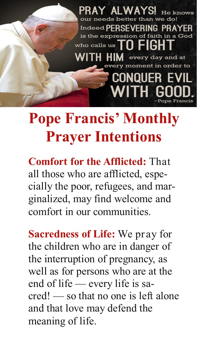 Prayer Intentions Pope Francis