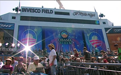 Obama/Biden crowd at a stadium awaiting US Presidential candidates, 2011