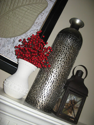 Faux stone painted vase on mantel