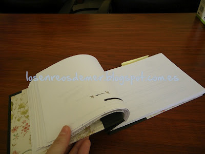 Interior de la libreta realizada en cartonaje